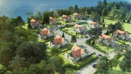 Osiedle domów : widok 3d z lotu ptaka